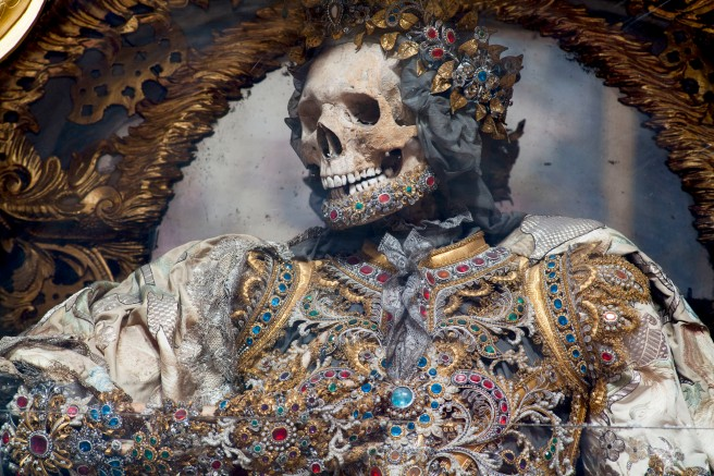 - Waldsassen, Germany, detail of St. Gratian. The Basilika at Waldsassen holds the largest extent collection of presumed skeletons of martyrs from the Roman Catacombs still on display.