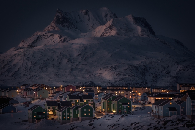 Greenland town in the snow