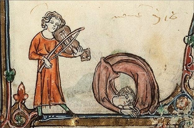 Marginalia of medieval monks dancing