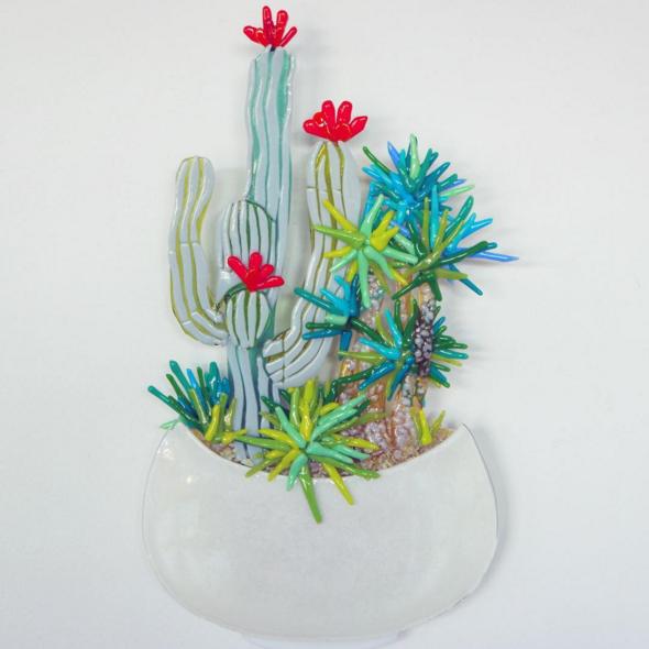 Joy Kichi Glass Art Cactuses